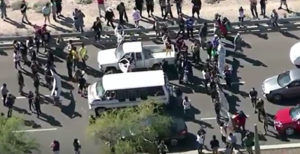anti Trump protestors block highway